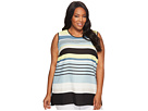 Vince Camuto Specialty Size - Plus Size Sleeveless Stripe Harmony Knit Back Top