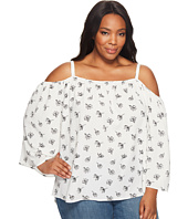 Vince Camuto Specialty Size - Plus Size Long Sleeve Fluent Flowers Cold Shoulder Blouse