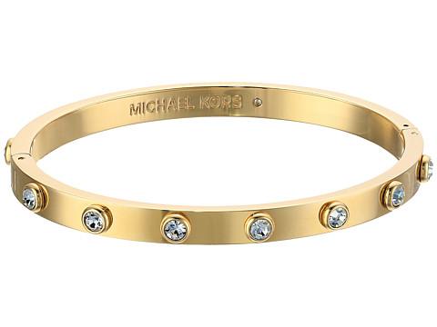 Michael Kors Tone and Crystal Hinged Bangle Bracelet - Gold