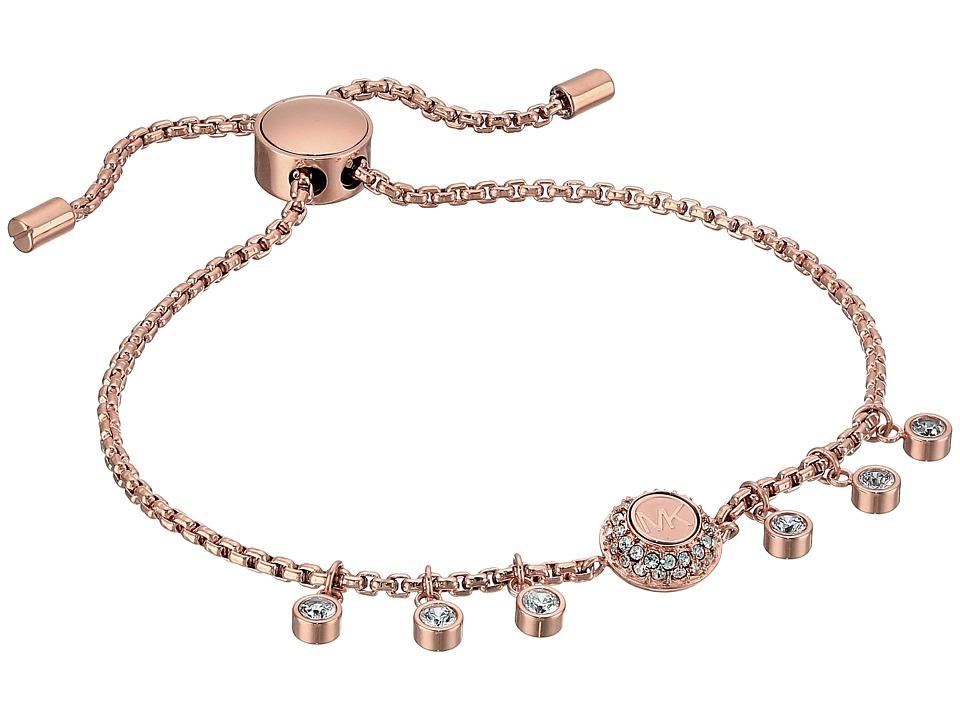 Michael Kors Logo Tone and Crystal Slider Bracelet (Rose ...