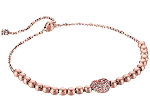 Michael Kors Pave Hearts Tone and Peach Crystal Bead Slider Bracelet - Rose Gold