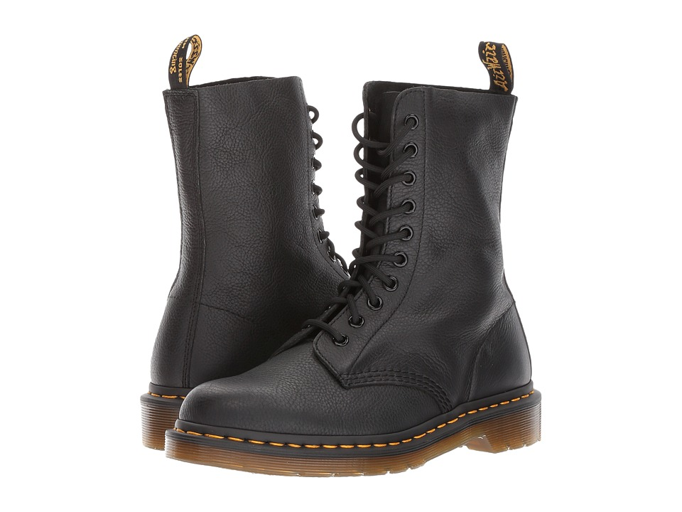 Dr. Martens 1490 10-Eye Boot (Black Virginia) Women's Lace-up Boots