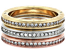 Tri-Tone and Pave Logo Grommet Stack Ring Set