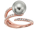 Michael Kors - Pearl Tone Pave Crystal and Grey Pearl Open Ring