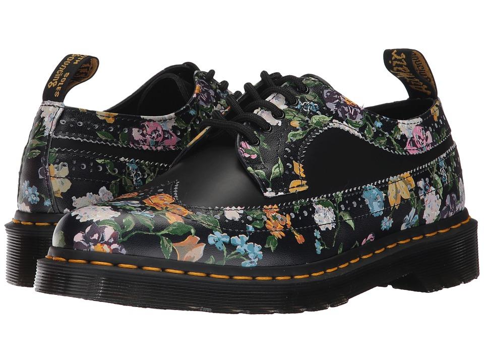 Dr. Martens 3989 Darcy Floral Wingtip Shoe (Black Darcy Floral Backhand/Black Smooth) Women