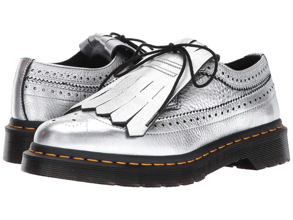 Dr. Martens 3989 Kiltie Metallic Wingtip Shoe (Silver Santos) Women