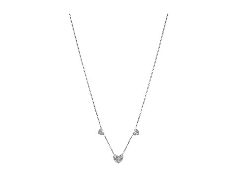Michael Kors Pave Hearts Tone and Clear Crystal Station Pendant Necklace