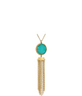 Michael Kors - Tone Blue Mountain Jade and Crystal Long Pendant Necklace