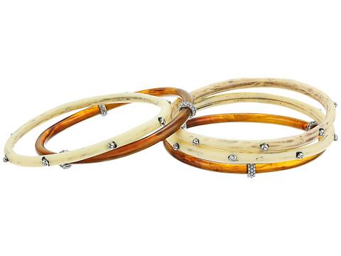 LAUREN Ralph Lauren Silver and Bone Five Set Multi Bangle Bracelet - Silver/Multi