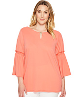Calvin Klein Plus - Plus Size Flutter Sleeve Top with Hardware