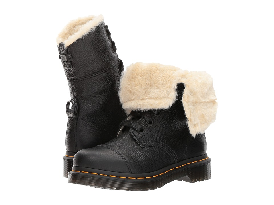 Dr. Martens Aimilita FL 9-Eye Toe Cap Boot (Black Aunt Sally) Women