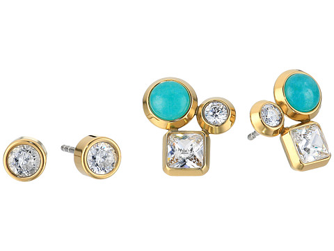 Michael Kors Tone Crystal and Blue Mountain Jade Cluster Stud Earrings Set - Gold