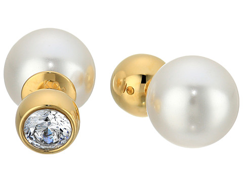 Michael Kors Pearl Tone Crystal and White Pearl Front-Back Stud Earrings - Gold