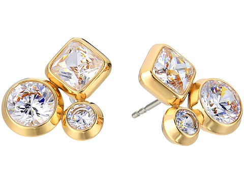 Michael Kors Tone and Crystal Cluster Stud Earrings - Gold