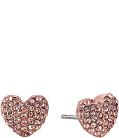 Michael Kors - Pave Hearts Tone and Peach Crystal Heart Stud Earrings