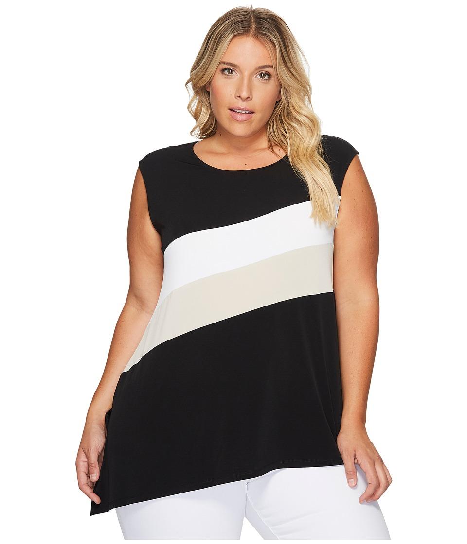 Calvin Klein Plus - Plus Size Sleeveless Angle Bottom Top with Stripe