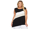 Plus Size Sleeveless Angle Bottom Top with Stripe