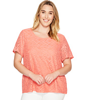 Calvin Klein Plus - Plus Size Short Sleeve Abstract Lace Top