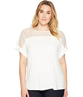 Calvin Klein Plus - Plus Size Short Sleeve Top with Lace Yoke