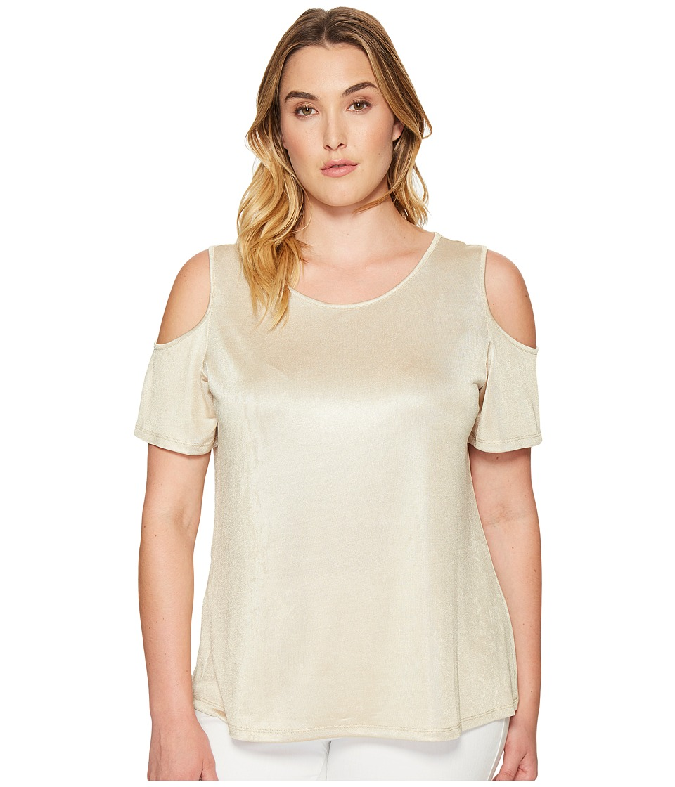 Calvin Klein Plus Calvin Klein Plus - Plus Size Metallic Cold Shoulder Top