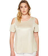 Calvin Klein Plus - Plus Size Metallic Cold Shoulder Top