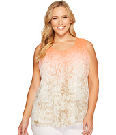 Calvin Klein Plus - Plus Size Sleeveless Print Top with Chiffon Overlay