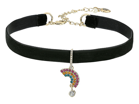 Betsey Johnson Pave Rainbow Charm Choker Necklace - Black