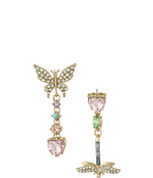 Betsey Johnson - Pave Butterfly & Dragonfly Non-Matching Drop Earrings
