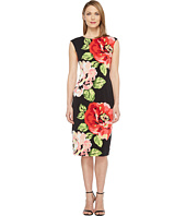 London Times - Cap Sleeve Midi Sheath Dress