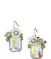 Betsey Johnson - Flower Rectangle Stone Drop Earrings