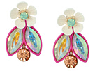 Betsey Johnson - Flower Faceted Stone Cluster Jacket Earrings