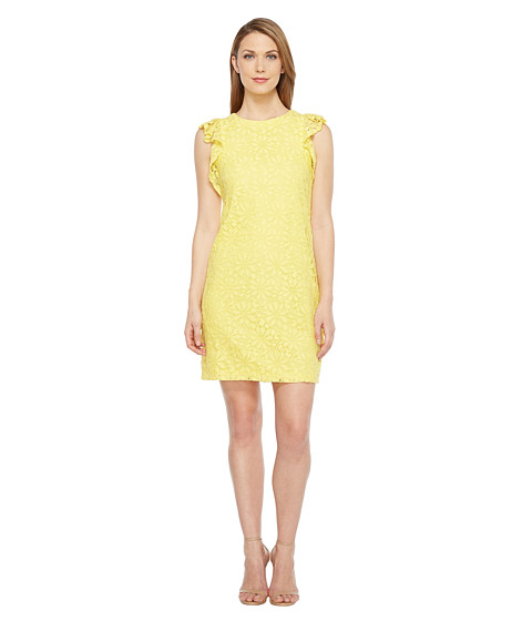 London Times Daisy Tile Lace Ruffle Sleeve Shift Dress