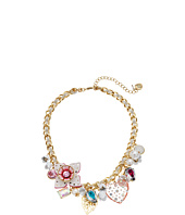 Betsey Johnson - Leather Flower Charm Frontal Necklace