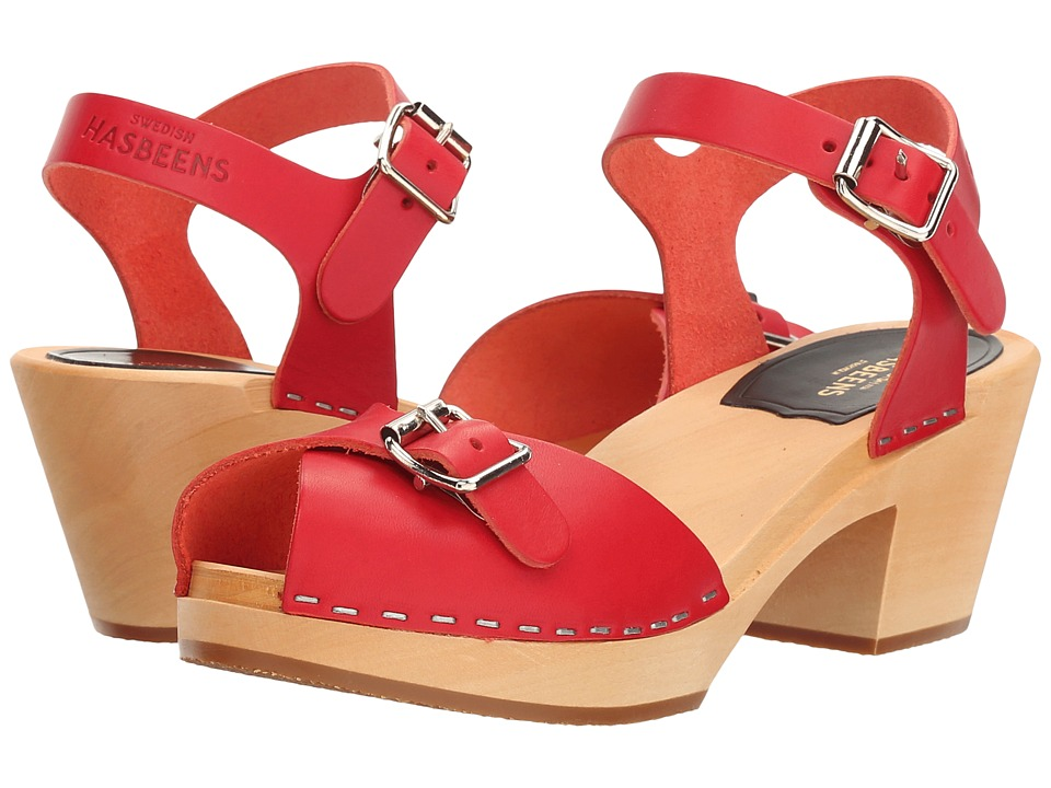 Vintage Style Sandals – 1930s, 1940s, 1950s, 1960s Swedish Hasbeens - Pia High Red Womens Shoes $209.00 AT vintagedancer.com