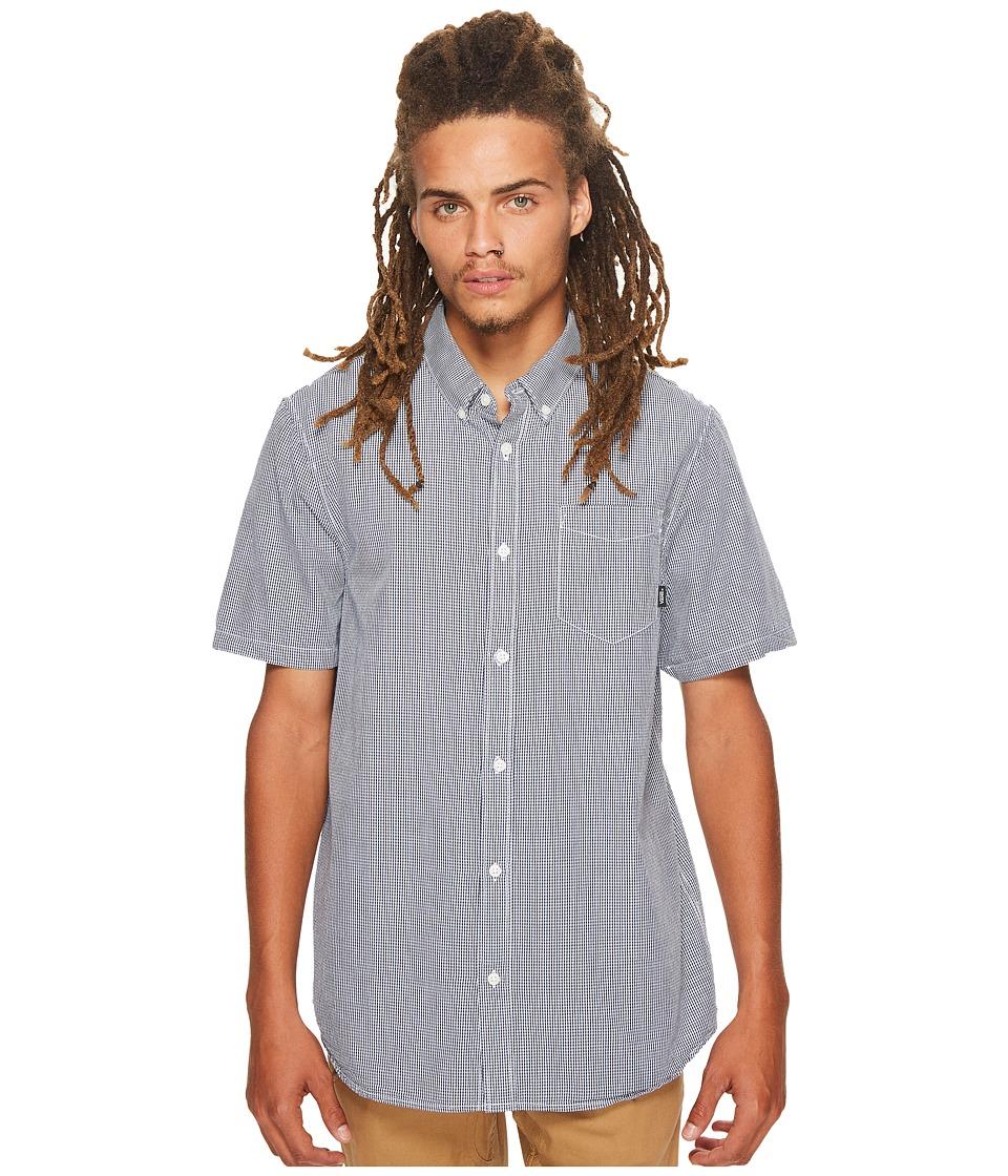 Vans - Candor Short Sleeve Plaid Top (White/Dress Blues) Men's Short Sleeve Button Up
