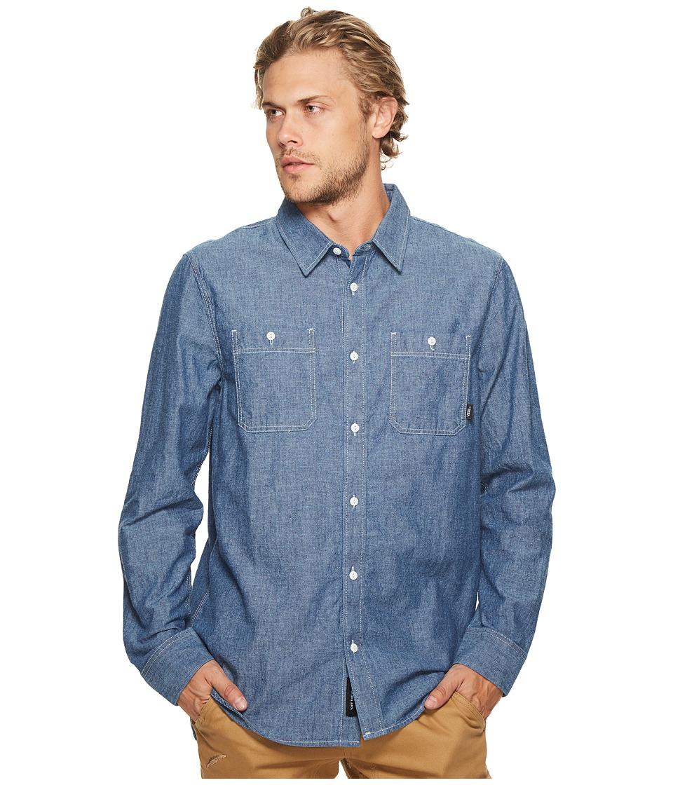 Vans - Carlow Long Sleeve Woven Top (Indigo Chambray) Men's Long Sleeve Button Up