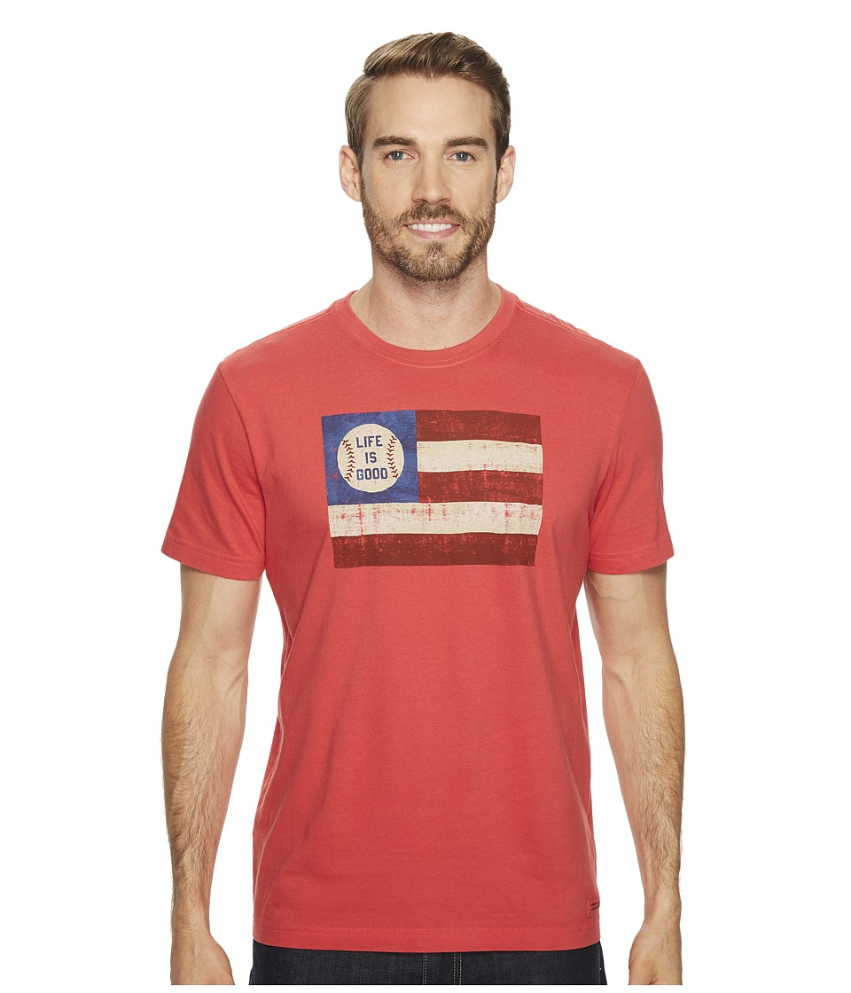 Life is Good Baseball Flag Crusher Tee (Americana Red) Men