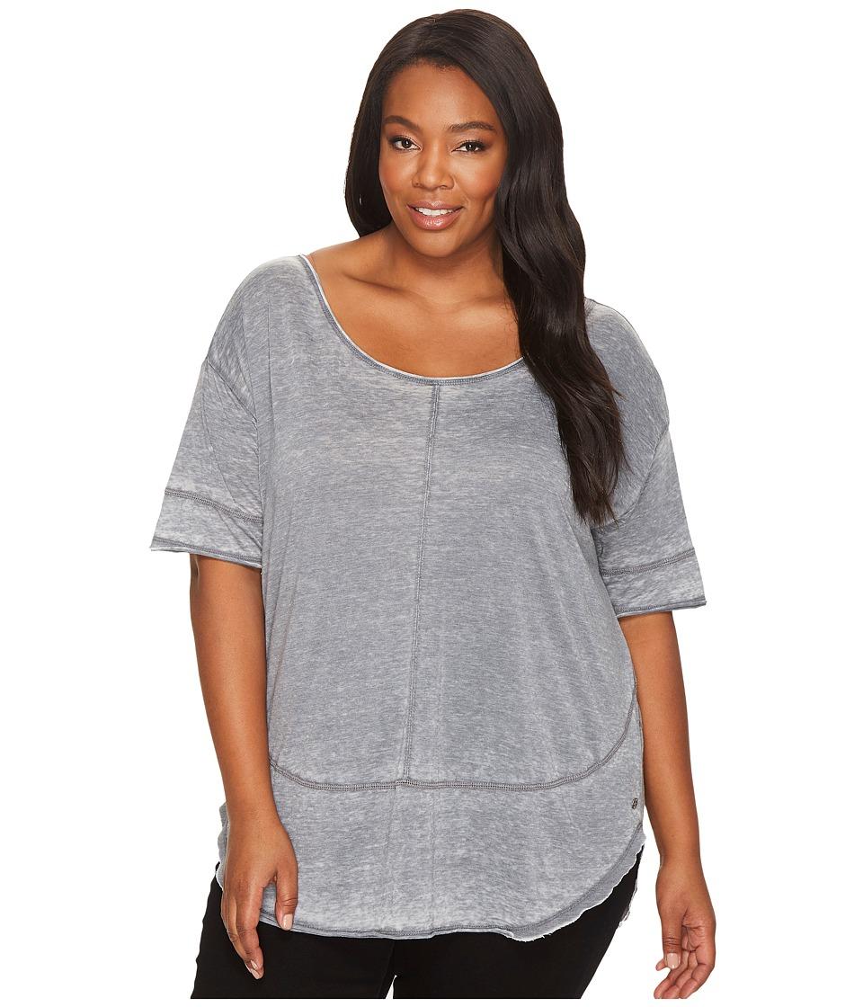 Jag Jeans Plus Size Plus Size Cafe Burnout Jersey Tee (Grey Stone) Women
