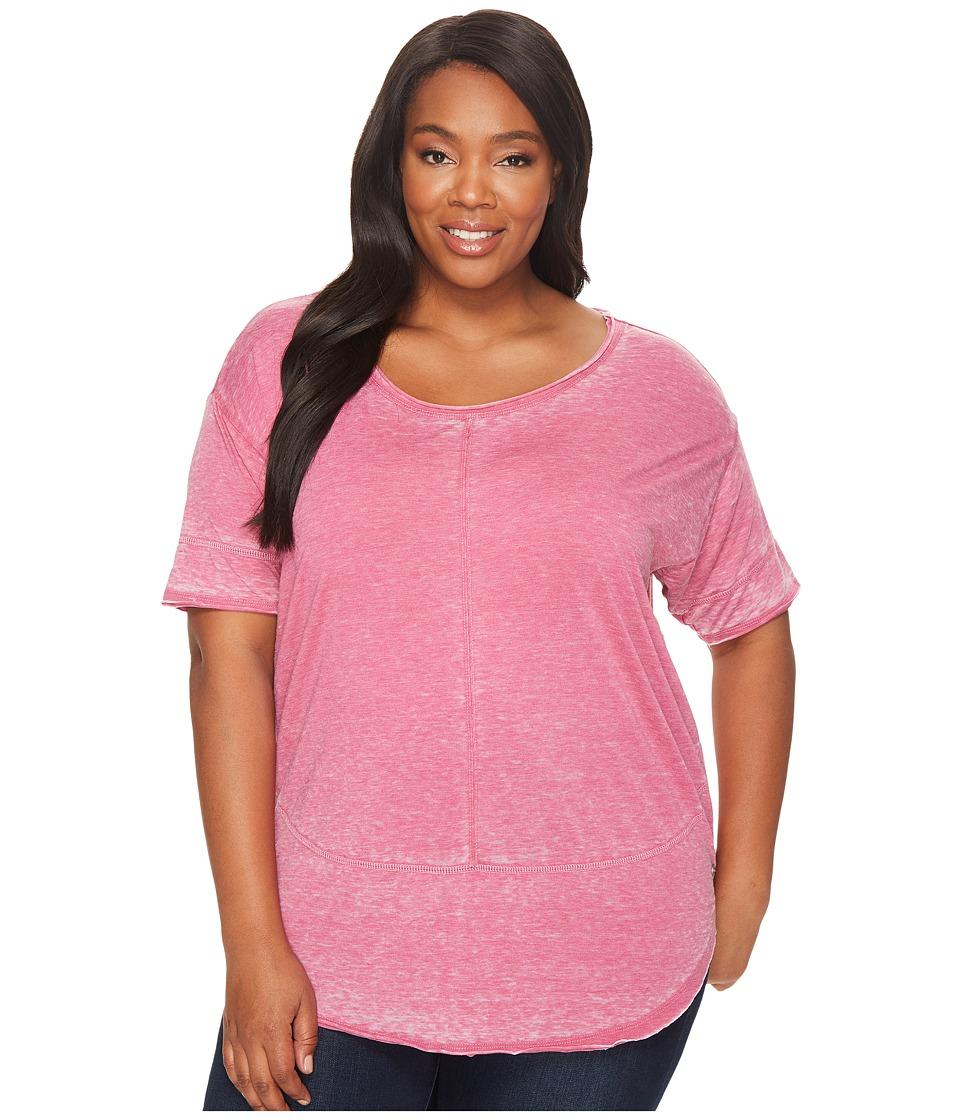 Jag Jeans Plus Size Plus Size Cafe Burnout Jersey Tee (Pink Geranium) Women