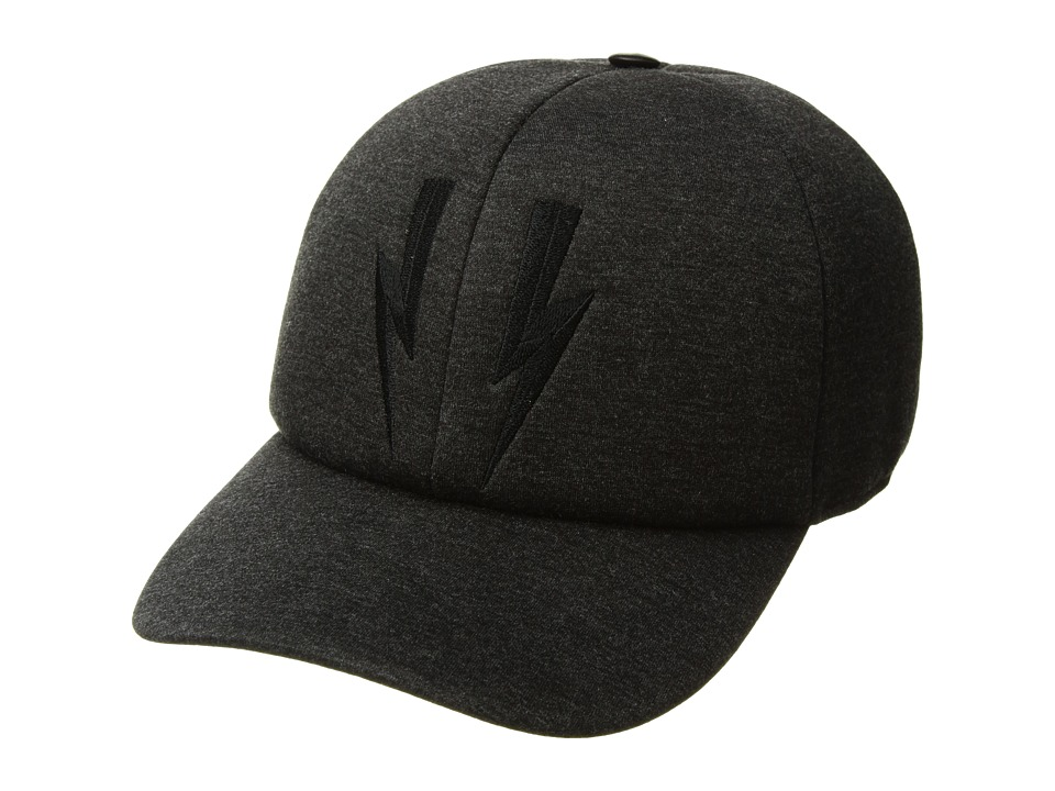 Neil Barrett - Embroidered Bolt Baseball Cap (Slate) Baseball Caps