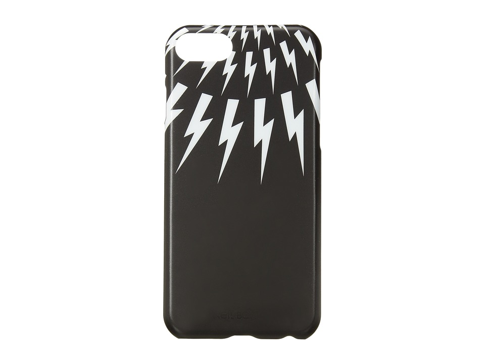 Neil Barrett - Thunderbolt Fair Isle iPhone 7 Case (Black/White) Cell Phone Case