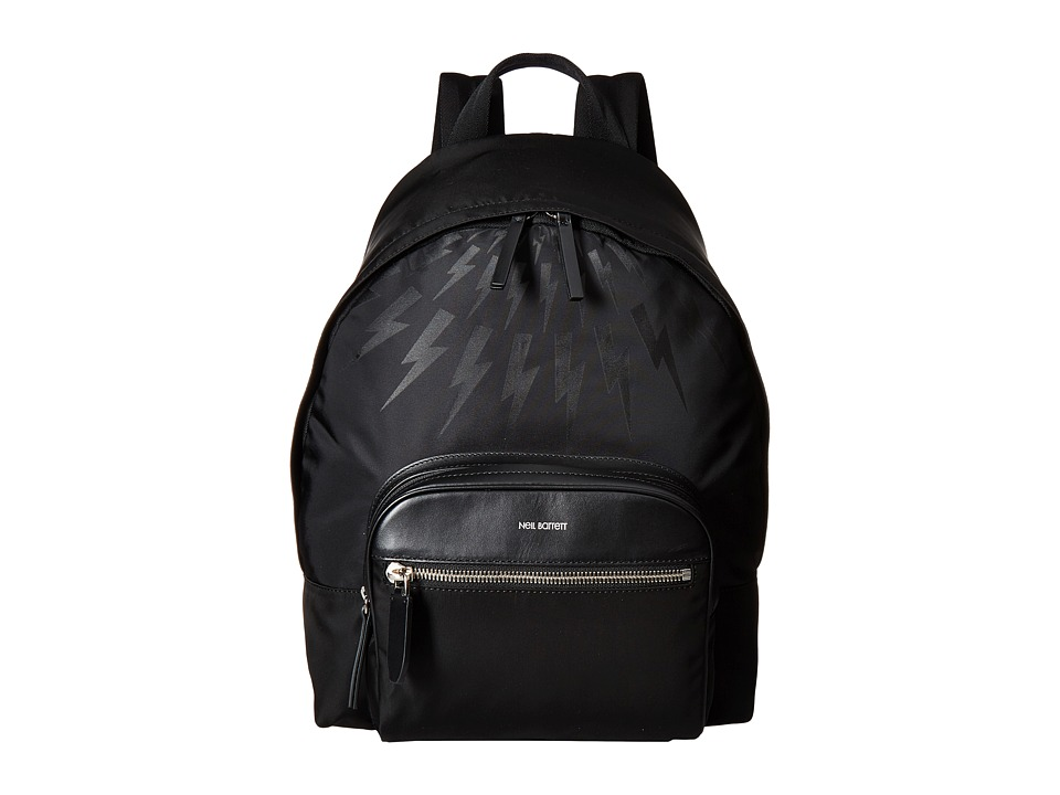 Neil Barrett - Thunder Bolt Fair Isle Nylon Backpack (Black) Backpack Bags