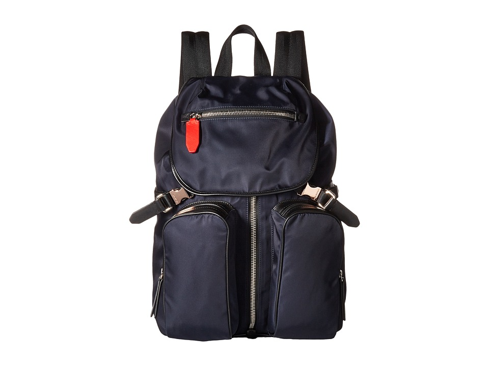Neil Barrett - Solid Nylon Flap Backpack (Navy) Backpack Bags
