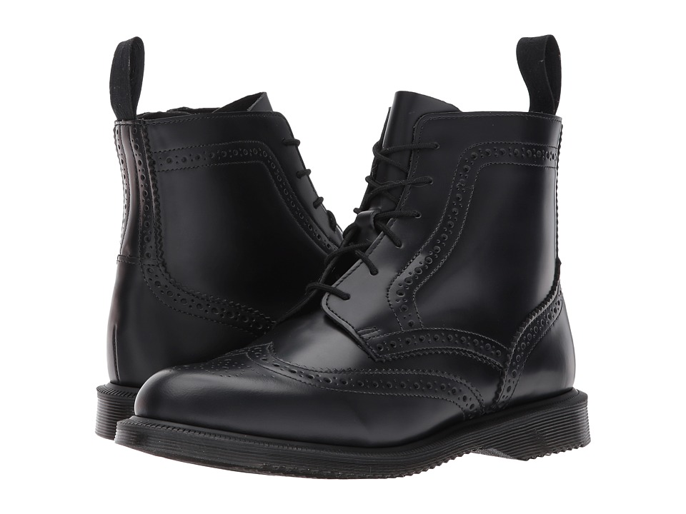 Dr. Martens Delphine 6-Eye Brogue Boot (Black Polished Smooth)