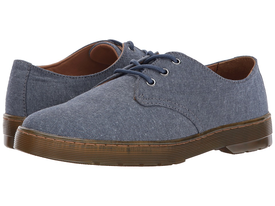 Dr. Martens Delray 3-Eye Shoe (True Navy Chambray Twill/Tan Knott) Men