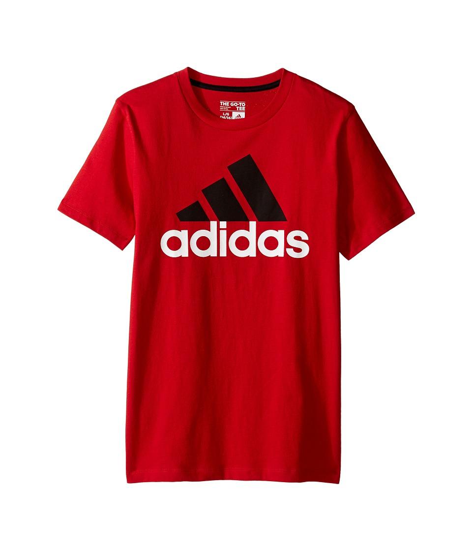 adidas Kids Performance Logo Tee (Big Kids) (Red) Boy