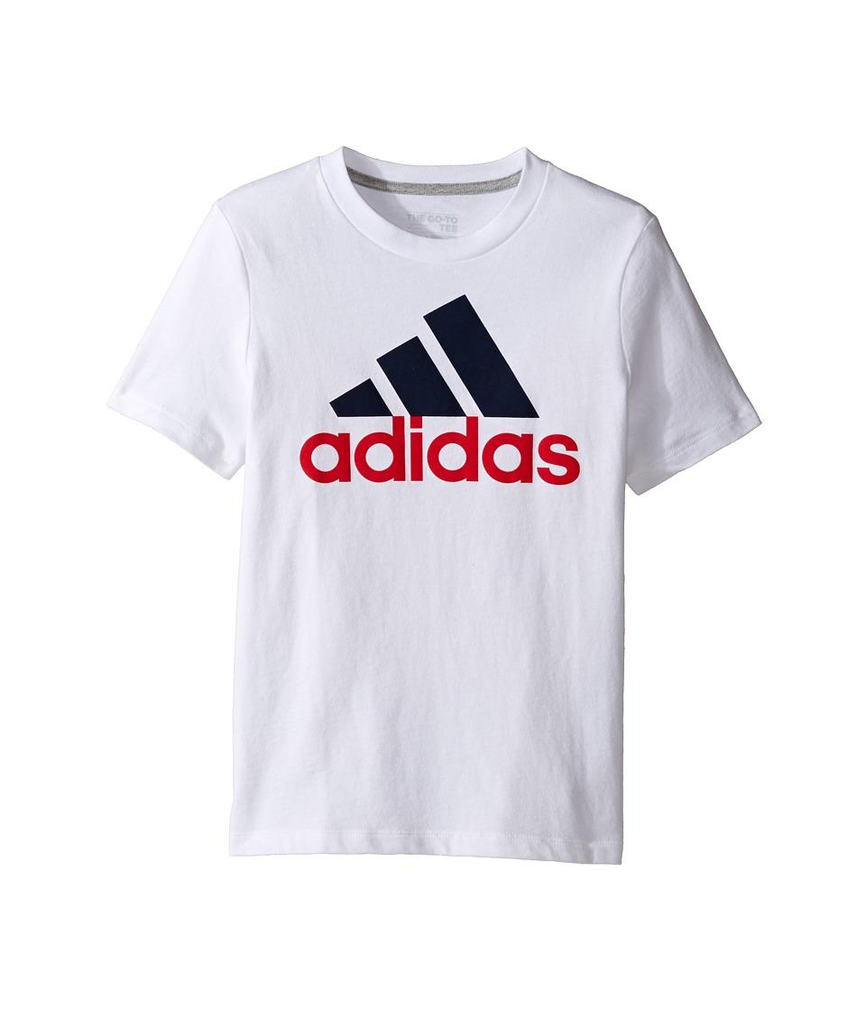 adidas Kids Performance Logo Tee (Big Kids) (White) Boy