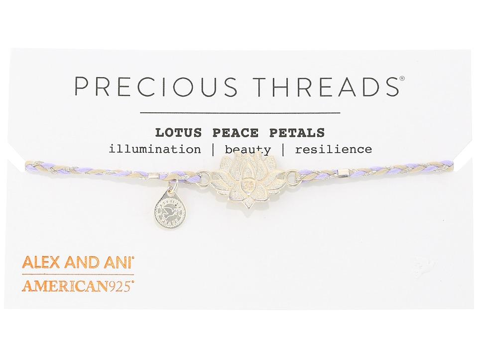Alex and Ani - Precious Threads - Lotus Peace Petals Periwinkle Braid Bracelet
