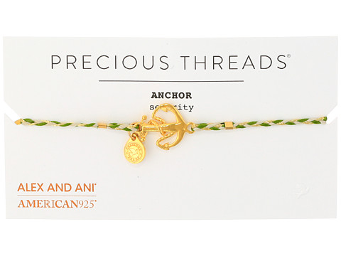 Alex and Ani Precious Threads - Anchor Succulent Braid Bracelet - 14kt Gold Plate