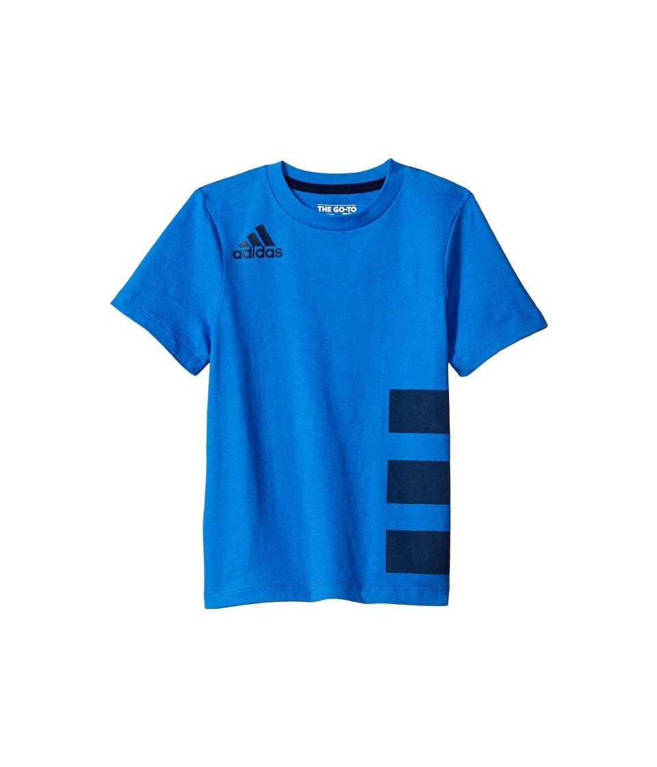 adidas Kids Three Stripe Wrap Tee (Big Kids) (Medium Blue) Boy